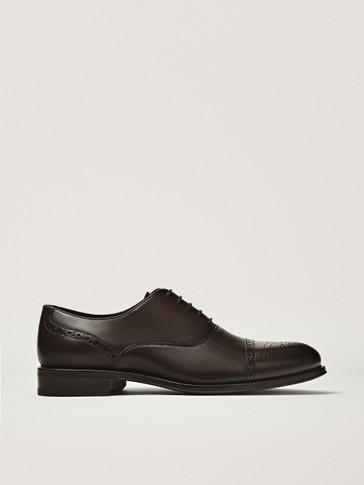 Brown leather smart brogues