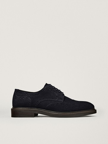 BLUE SPLIT SUEDE BROGUES