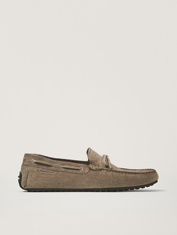 MINK-COLOURED SPLIT SUEDE LOAFERS WITH BOW