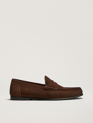 BROWN SPLIT SUEDE PENNY LOAFERS