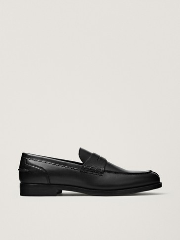 BLACK LEATHER PENNY LOAFERS
