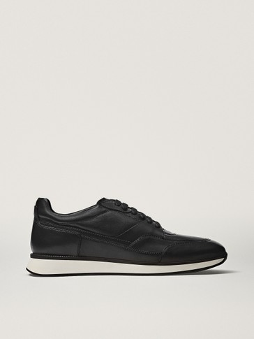 PREMIUM BLACK BRUSHED TRAINERS