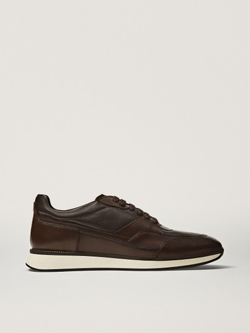 PREMIUM BROWN BRUSHED TRAINERS