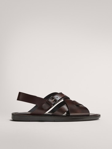 BROWN BRUSHED LEATHER SANDALS