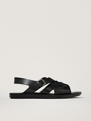 BLACK BRUSHED LEATHER SANDALS