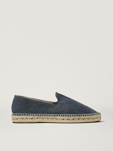 Denim fabric espadrilles