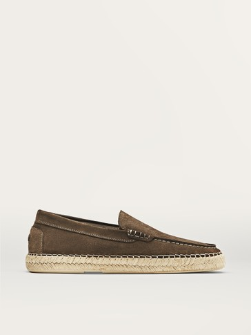 TAUPE SPLIT SUEDE JUTE LOAFERS