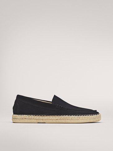 BLUE SPLIT SUEDE ESPADRILLE LOAFERS