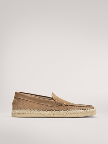 SAND SPLIT SUEDE ESPADRILLE LOAFERS LIMITED EDITION