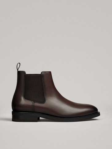 BROWN LEATHER ELASTIC ANKLE BOOTS