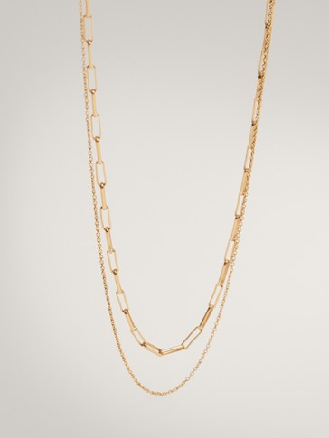 GOLD-PLATED DOUBLE CHAIN NECKLACE