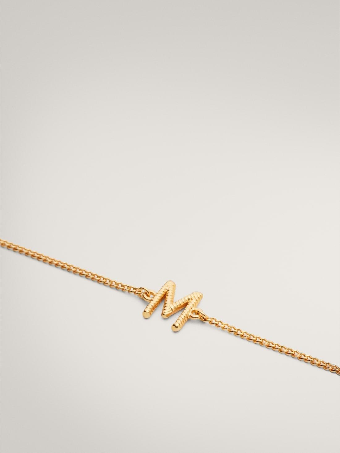 ПОЗОЛОЧЕННЫЙ БРАСЛЕТ С ИНИЦИАЛОМ «M» Золотой Massimo Dutti