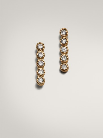 PLATED GOLD BAR EARRINGS WITH ZIRCONIA