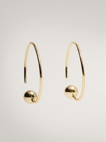 GOLD-PLATED HOOP EARRINGS WITH BEAD