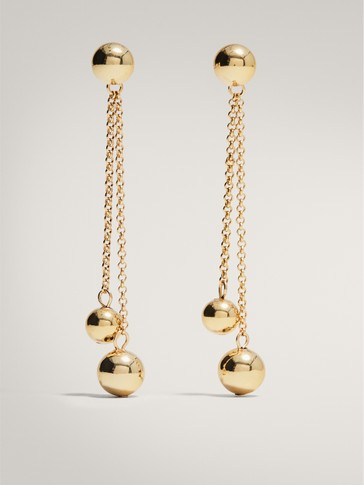 GOLD-PLATED CHAIN EARRINGS WITH BEADS