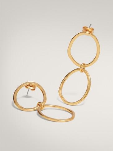 GOLD-PLATED DOUBLE HOOP EARRINGS