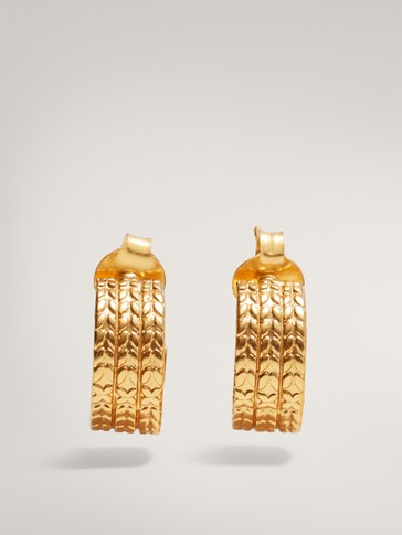 Small textured gold-plated hoop earrings