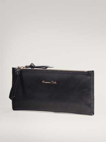 BLACK DOUBLE ZIP LEATHER WALLET