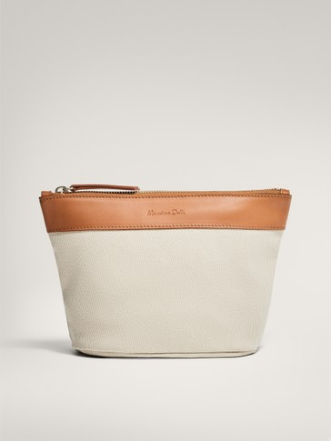 Cotton and leather mini changing bag