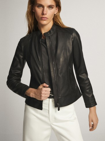 BLACK NAPPA LEATHER JACKET WITH TOPSTITCHING