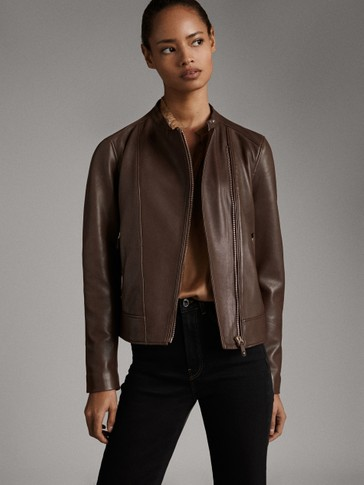 LEATHER ZIPPED JACKET
