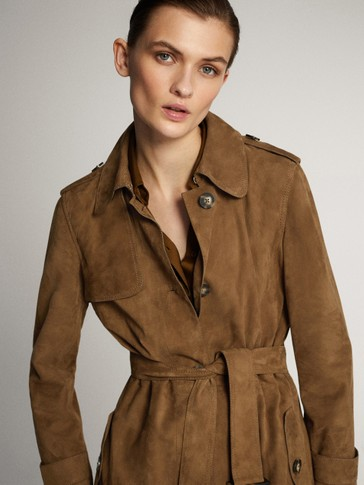SUEDE TRENCH-STYLE JACKET