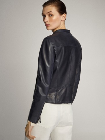NAVY BLUE LEATHER JACKET WITH SEAMS