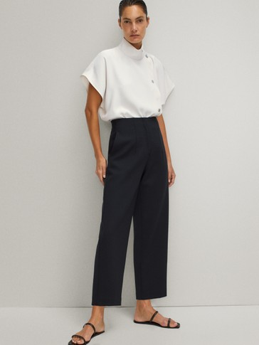 STRAIGHT FIT DARTED WOOL TROUSERS