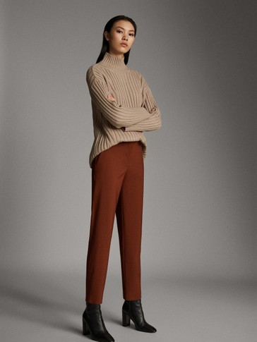 STRAIGHT FIT CROPPED WOOL TROUSERS