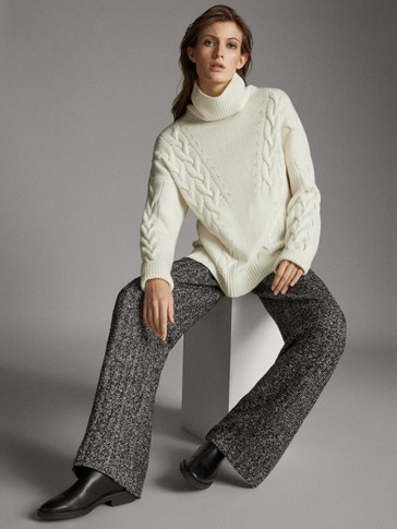 WIDE BLACK AND WHITE BOUCLÉ TROUSERS