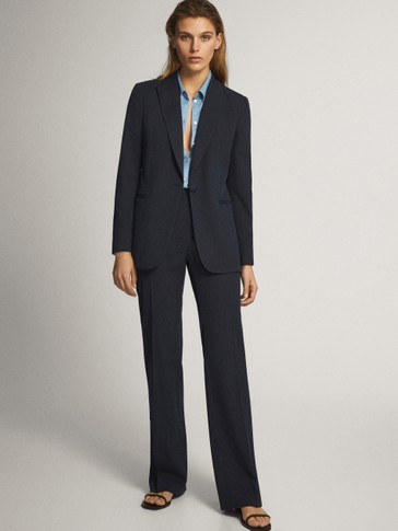 DENIM FLARED SUIT TROUSERS