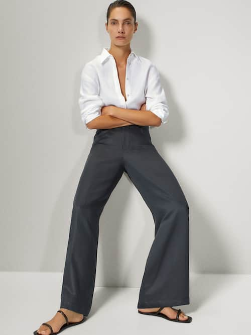마시모두띠 Massimo Dutti WIDE-LEG TROUSERS WITH ROUNDED POCKETS,LEAD