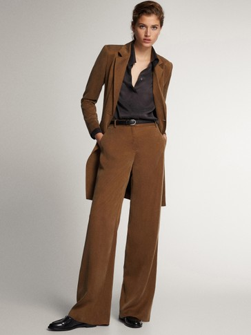 STRAIGHT FIT CUPRO TROUSERS