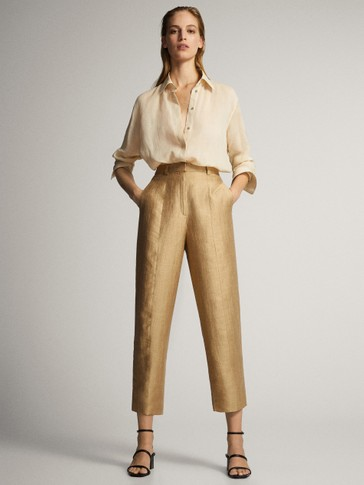 LAMINATED LINEN TROUSERS