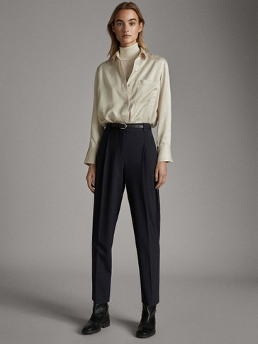 NAVY DARTED HOUNDSTOOTH WOOL TROUSERS