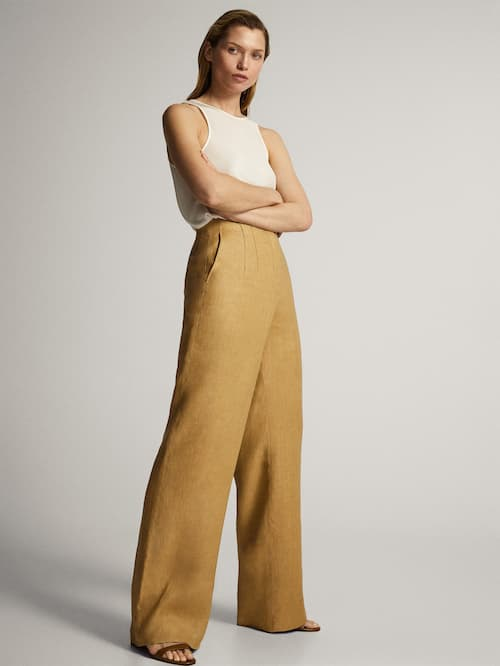 마시모두띠 Massimo Dutti TROUSERS WITH WAISTBAND DARTS,BEIGE