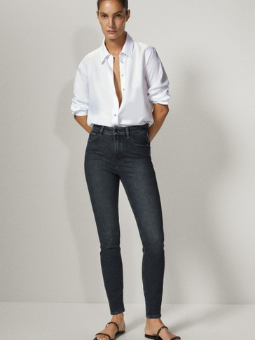PANTALÓN VAQUERO NEGRO BRILLO HIGH RISE SKINNY FIT
