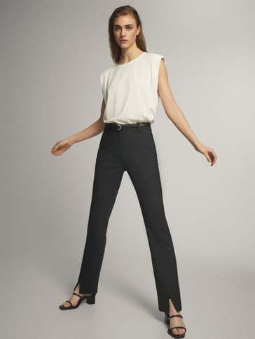 SLIM FIT TROUSERS WITH VENT DETAIL
