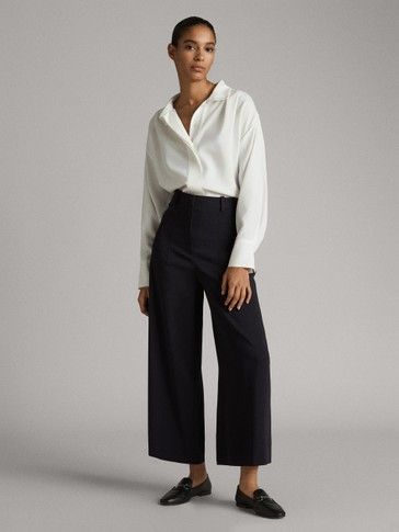 ASIAN FIT. NAVY CREPE CULOTTE TROUSERS