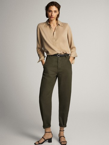 COTTON LINEN CARROT FIT TROUSERS