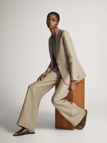 ASIAN FIT. 100% LINEN WIDE-LEG TROUSERS