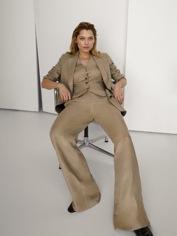 100% LINEN WIDE-LEG TROUSERS