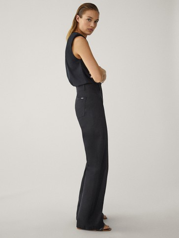 DARTED WIDE-LEG TROUSERS