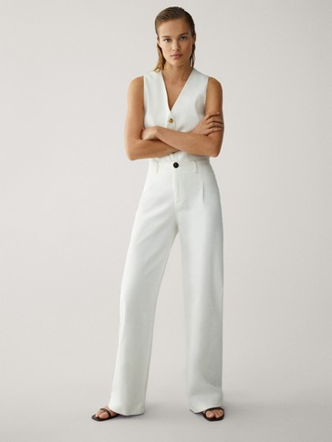 PANTALONI HIGH RISE CON GAMBA LARGA