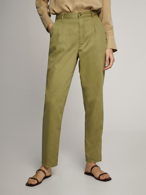 마시모두띠 Massimo Dutti STRAIGHT FIT LYOCELL COTTON AND LINEN TROUSERS WITH DARTS,KHAKI