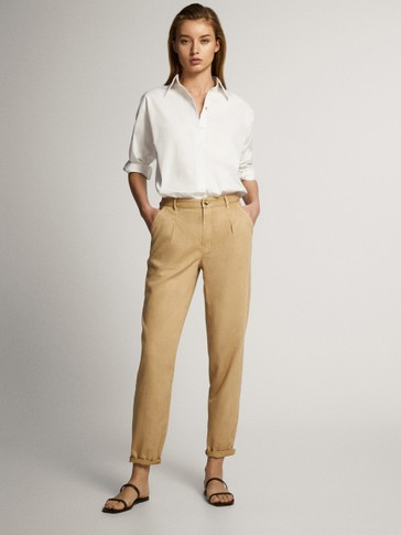 STRAIGHT FIT LYOCELL COTTON AND LINEN TROUSERS WITH DARTS