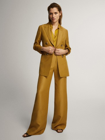 Straight leg linen trousers