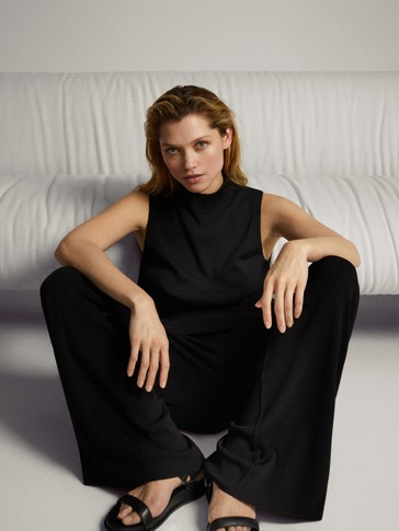 TOTAL LOOK BLACK STRAIGHT LEG TROUSERS