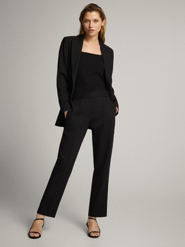 BLACK CREPE JOGGING FIT TROUSERS