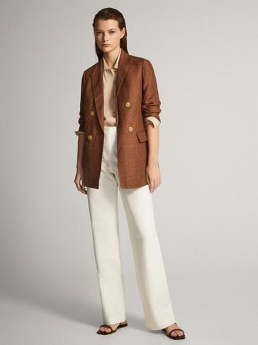 Pantalón recto algodón lino